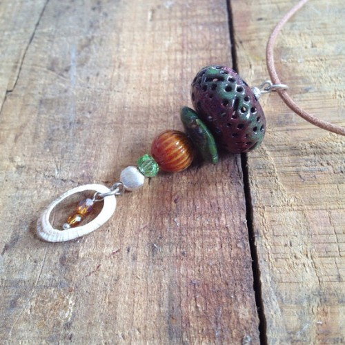 Bohemian Enamel and Shell Pendant Necklace