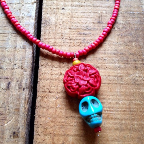 Genuine Turquoise Skull Necklace