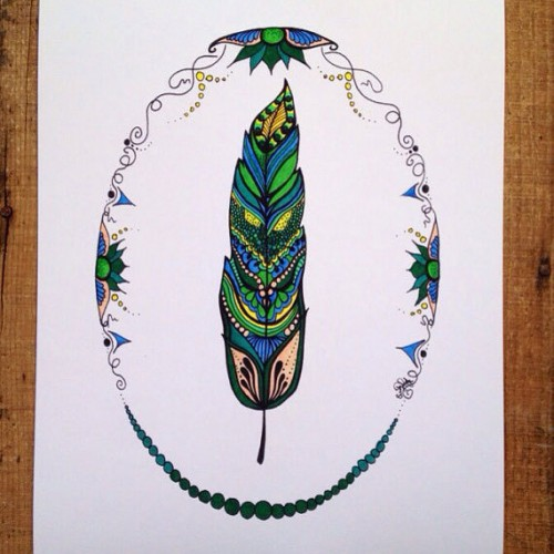 Green Feather Art Print