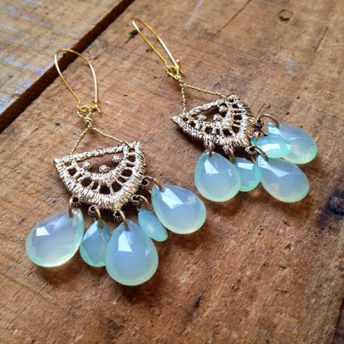 Vintage Upcycled Mint Chandelier Earrings